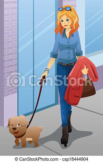 Mujer caminando con su perro - csp18444904