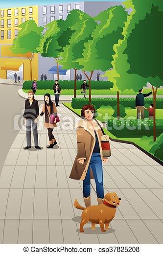 Mujer caminando con su perro - csp37825208