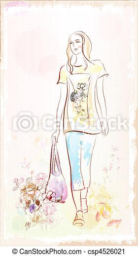 Una chica que camina - csp4526021