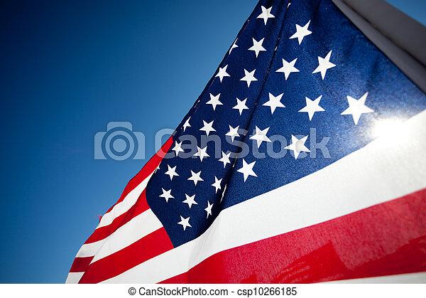 amereican, national, commémorer, drapeau, vacances, exposer - csp10266185