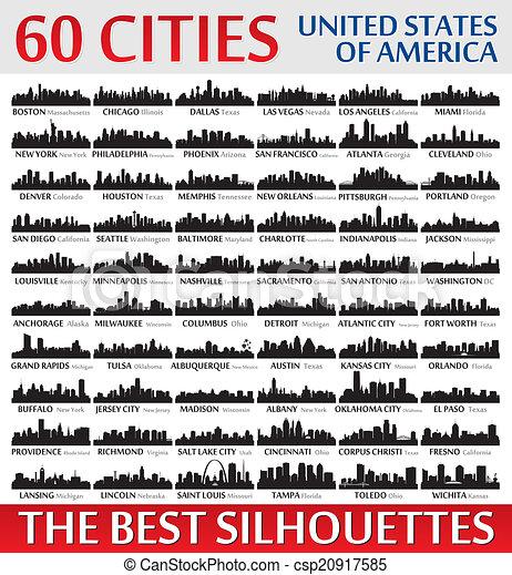 ameri, incredibile, stati, silhouette, unito, set., orizzonte, città - csp20917585