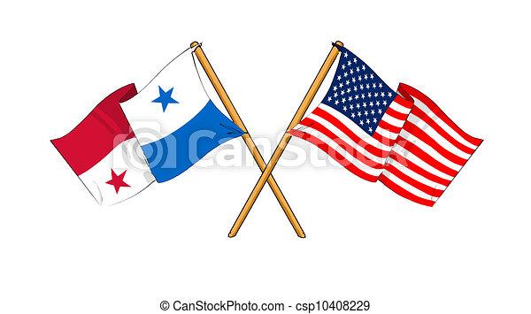 America And Panama Alliance And Friendship Cartoonlike Clip - Panama flags