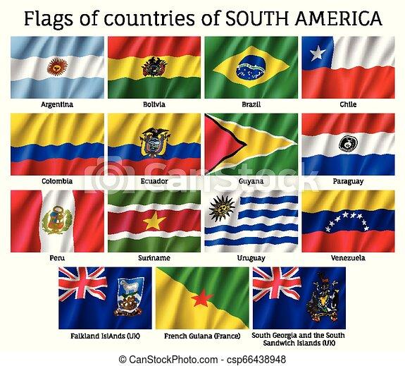 america, bandiere, continente, sud, paesi - csp66438948