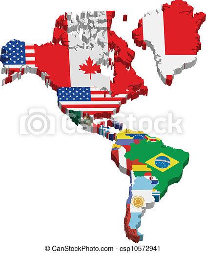 america, bandiere, continente - csp10572941