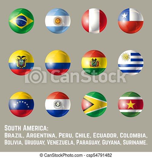 america, bandiere, rotondo, sud - csp54791482
