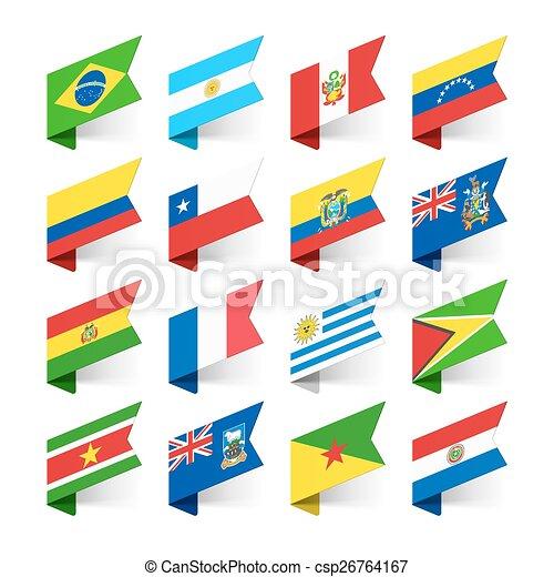 america, bandiere, sud, mondo - csp26764167