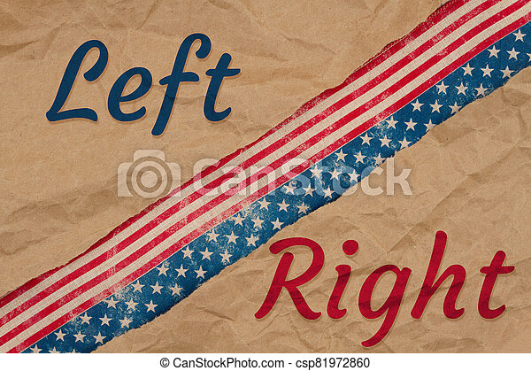America divided message with left right type with retro USA stars and stripes burlap ribbon - csp81972860