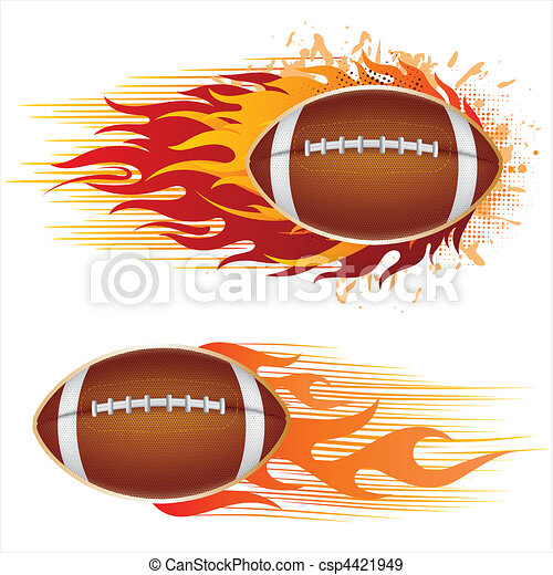 america football with flames - csp4421949