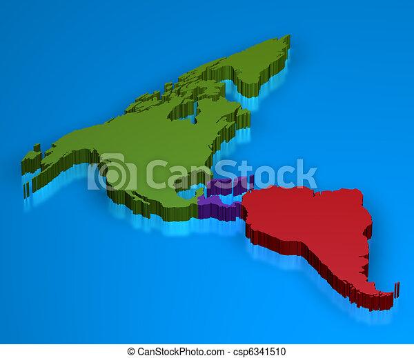 America Map in 3D