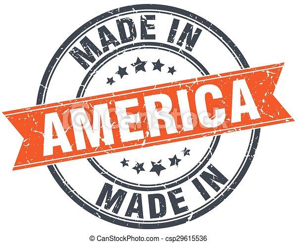 America orange grunge ribbon stamp on white - csp29615536