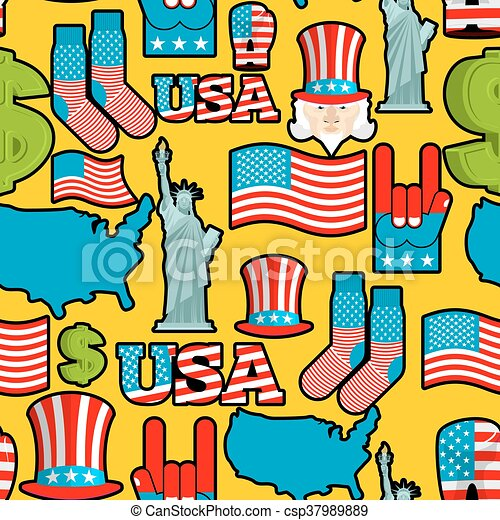 America Symbols Patriotic Pattern Usa National Ornament State