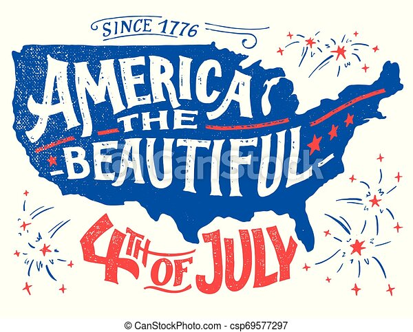America The Beautiful Fourth Of July Greeting Card