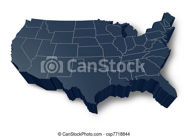 American 3d map isolated symbol Usa 3d map isolated drawing