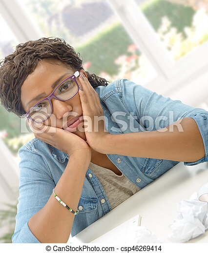American African business woman tired in his office - csp46269414