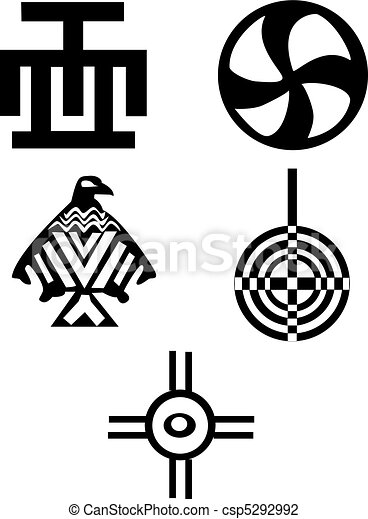 Five Different Native American And African Symbols Indians