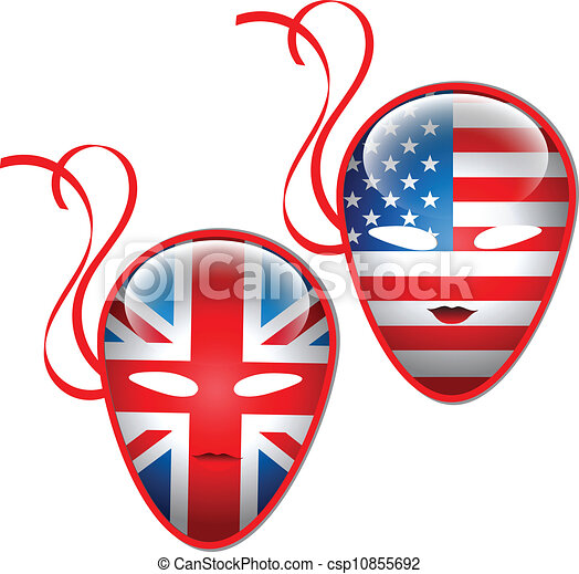 American and British flags mask - csp10855692