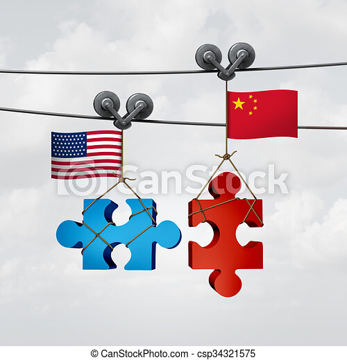 American And Chinese Cooperation - csp34321575
