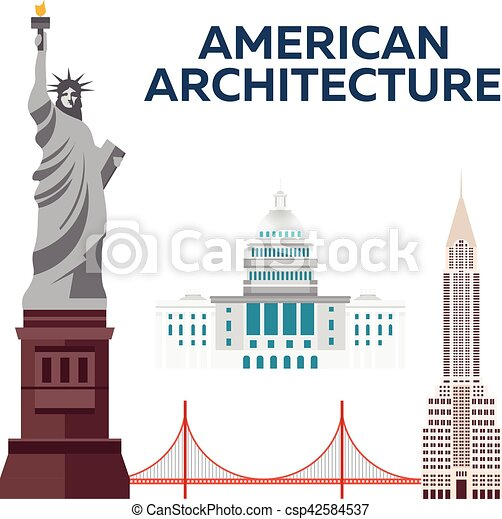 American Architecture. Modern flat design. Vector illustration. - csp42584537