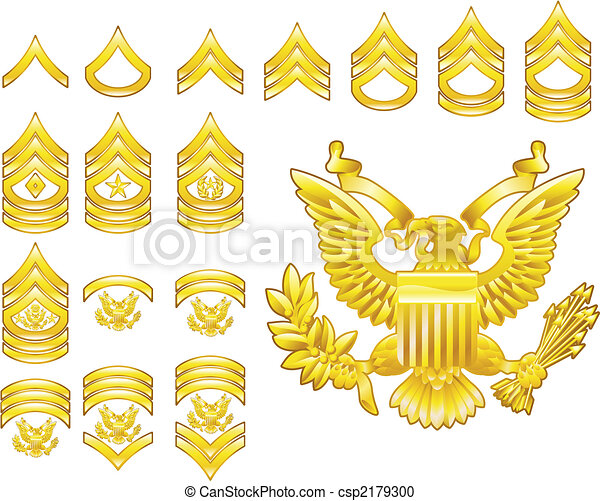 american army enlisted rank insignia icons - csp2179300