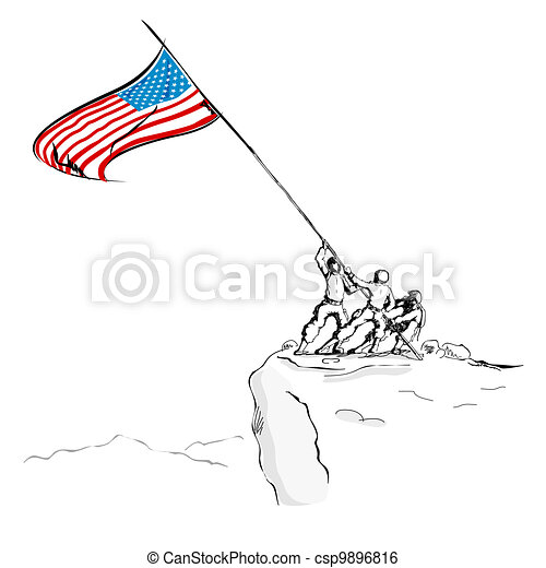 American Army with Flag - csp9896816