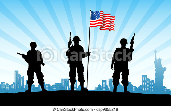 American Army with Flag - csp9855219