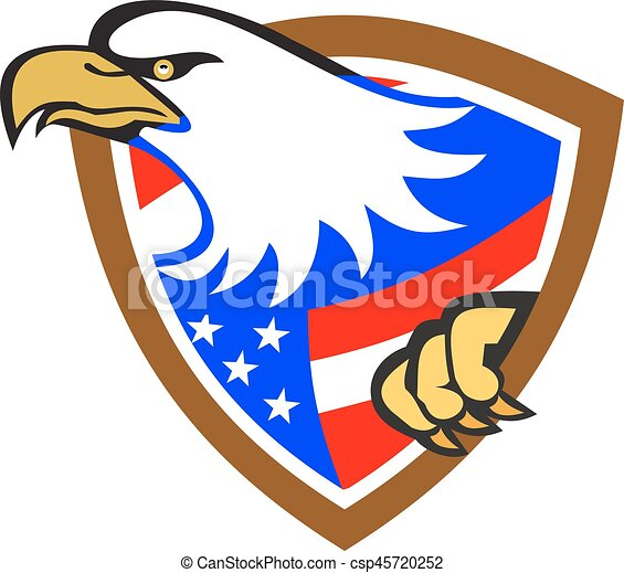 american bald eagle head with flage illustration of an american