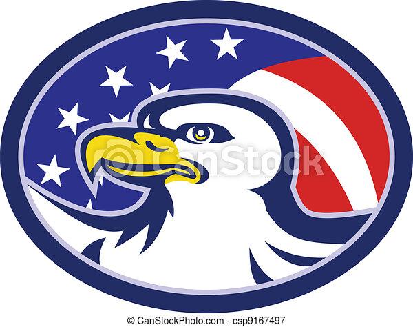 American Bald Eagle Stars Stripes Flag - csp9167497