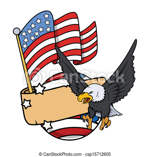 american bald eagle with flag patriotic nation love theme rh canstockphoto com Vintage Patriotic Clip Art Patriotic Symbols Clip Art