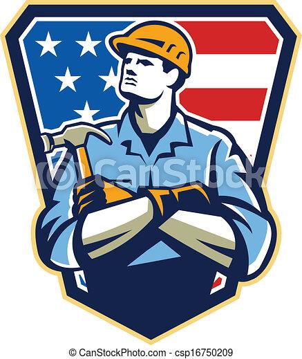 american builder carpenter hammer crest retro illustration of an