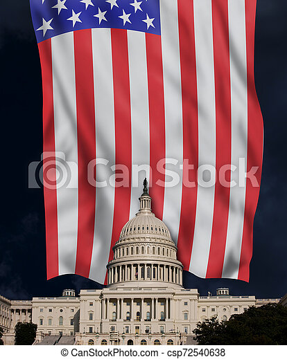 American Capital Building and Flag. - csp72540638