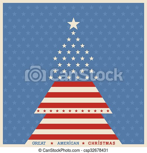 Patriotic Christmas Background.American Christmas Tree Poster Background