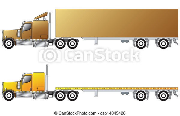 American conventional truck with trailer - csp14045426