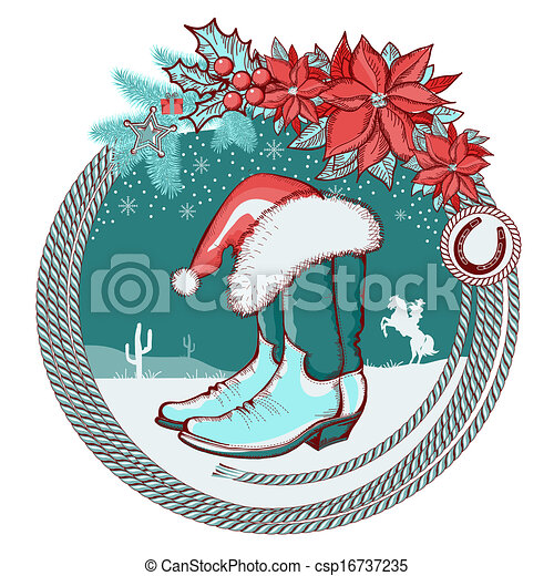 American cowboy boots and Santa red hat on Christmas background - csp16737235