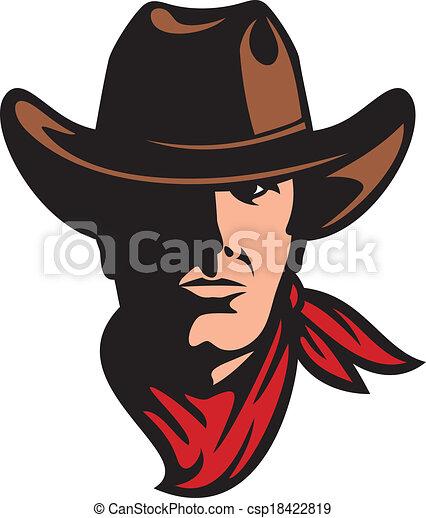 american cowboy head - csp18422819