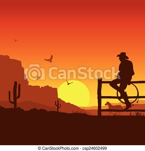 American Cowboy on wild west sunset landscape in the evening - csp24602499