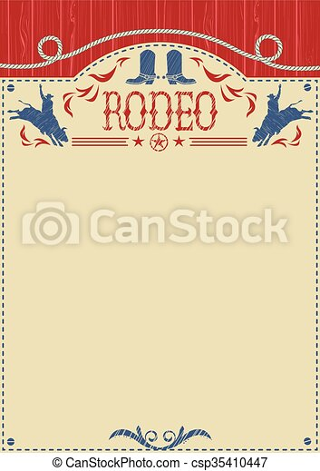 American cowboy rodeo poster for text.Cowboy riding wild bull - csp35410447