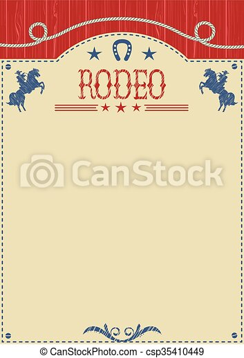 American cowboy rodeo poster for text.Cowboy riding wild horse - csp35410449