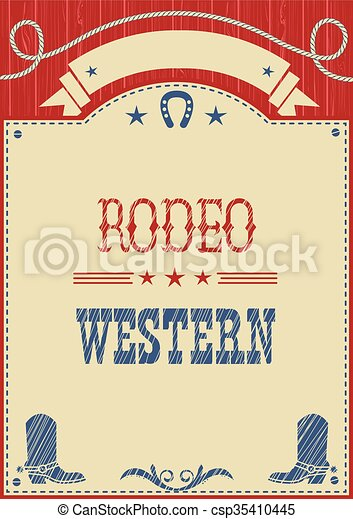 American cowboy rodeo poster for text - csp35410445