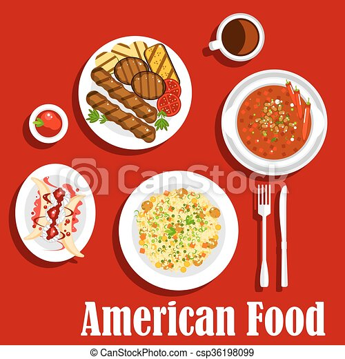 American dinner with grilled meat and chilli icon - csp36198099