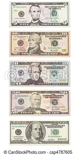 American dollar banknote isolated over white. Set - csp4787605