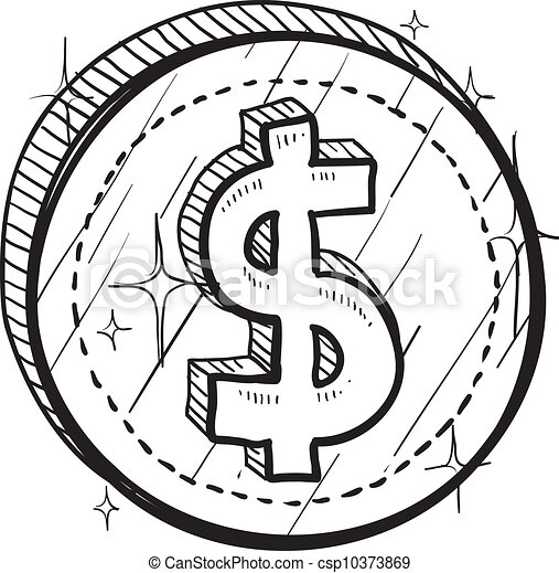 American Dollar Coin Sketch Doodle Style Coin With Currency Symbol