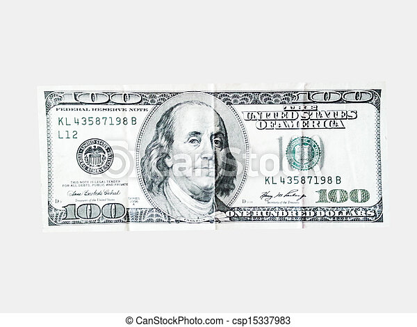 american dollars money on the white background - csp15337983