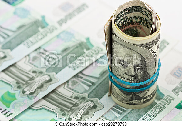American dollars on a background of the Russian money - csp23273733