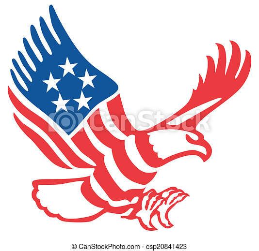 American Eagle In The Patriotic Colors On Fly