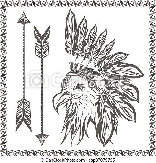 American Eagle in ethnic Indian headdress