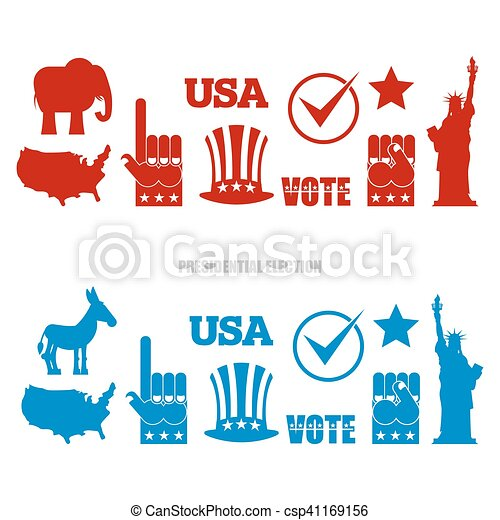 American Elections Sign Set Republican Elephant And Clipart