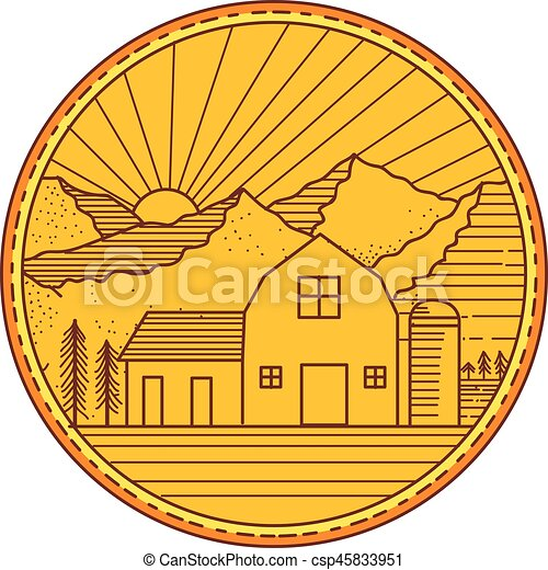 Mono Line Style IIllustration Of An American Farm Barn House With Silo And Trees Mountain Sun Burst In The Background Set Inside Circle