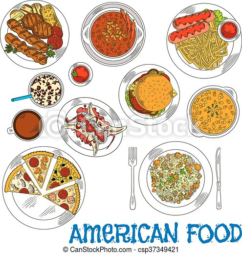 American fast food and grilled dishes sketch icon - csp37349421