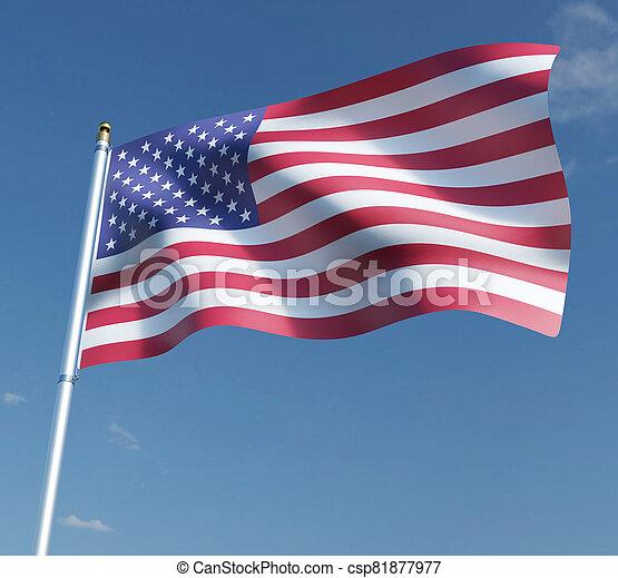 American flag 3D illustration on blue sky background. 3D rendering illustrations. - csp81877977