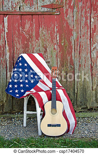 American flag and guitar - csp17404570